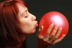 Care concept. Woman with balloon Stock Images