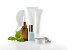 Daily care cosmetics on white background. Stock Photos