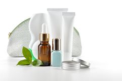 Daily care cosmetics on white background. Royalty Free Stock Photo