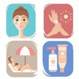 Care cream skin protection. tanning vector illustration. Care cream skin protection vector illustration Stock Photos