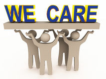 We care for customer. Customer care concept image with figures holding we care words on a block Royalty Free Stock Photos