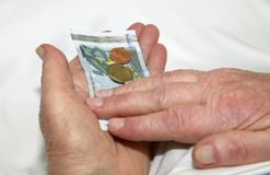 Care-dependent woman holding money. Hands of a care-dependent woman holding euro Stock Photos