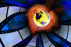 Care the earth with movie concept Stock Photo