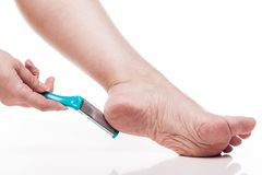 Care For Dry Skin On The Well-groomed Feet And Heels With The He Stock Photography