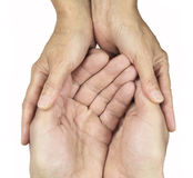 Care Giver. Female hands cupped around male hands on white background depicting a carer Stock Photography