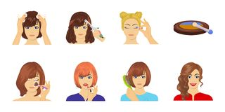 Care of hair and face icons in set collection for design. Perfumes and makeup vector symbol stock web illustration. Care of hair and face icons in set vector illustration