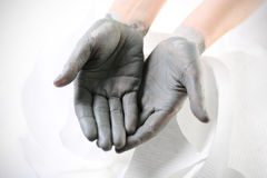 Daily care of hands: smoothing dry and rough hands Royalty Free Stock Photos