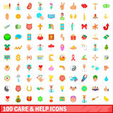 100 care and help icons set, cartoon style. 100 care and help icons set in cartoon style for any design vector illustration Stock Photo