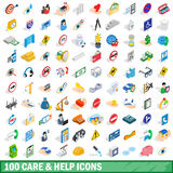 100 care and help icons set, isometric 3d style Royalty Free Stock Photography