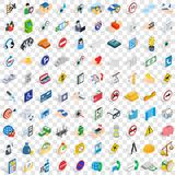 100 care and help icons set, isometric 3d style Royalty Free Stock Photos