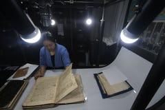 Care of Historical Manuscript kingdom of Surakarta Stock Images