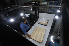 Care of Historical Manuscript kingdom of Surakarta. Officers conducted digitalization of ancient manuscripts of the kingdom of Surakarta in Solo, Java, Indonesia Stock Photos