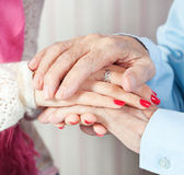 A care is at home of elderly Stock Photography