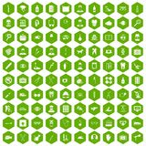 100 care icons hexagon green Royalty Free Stock Photo