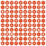 100 care icons hexagon orange Stock Photography