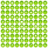 100 care icons set green. 100 care icons set in green circle isolated on white vectr illustration Stock Photos