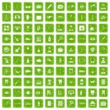 100 care icons set grunge green. 100 care icons set in grunge style green color isolated on white background vector illustration Stock Photo