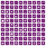 100 care icons set grunge purple. 100 care icons set in grunge style purple color isolated on white background vector illustration Royalty Free Stock Photo