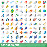 100 care icons set, isometric 3d style. 100 care icons set in isometric 3d style for any design vector illustration royalty free illustration