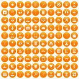 100 care icons set orange. 100 care icons set in orange circle isolated on white vector illustration Royalty Free Illustration