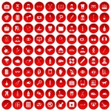 100 care icons set red. 100 care icons set in red circle isolated on white vector illustration royalty free illustration