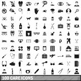 100 care icons set, simple style. 100 care icons set in simple style for any design illustration royalty free illustration