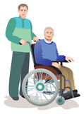 Care of invalids older persons. The old man with the social worker Stock Photography