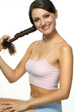 Daily care of long hair Royalty Free Stock Image