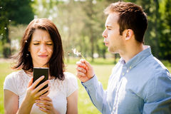Care about me and put aside phone Royalty Free Stock Photos
