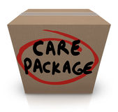Care Package Cardboard Box Words Support Emergency Aid Stock Photos