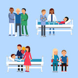 Care of patients in hospital. Medical therapy. Vector illustrations. Diagnostic and assistance hospitalization, consultation and healthcare Stock Photos