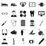 Care of relatives icons set, simple style Royalty Free Stock Photos