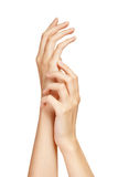 Care for sensuality woman hands Royalty Free Stock Photo