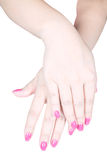 Care for sensuality woman nails Royalty Free Stock Photo