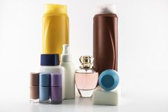 Care set consisting of shampoo, parfume, lotion, soap, nail polish, sun cream. Isolated on white background beauty bottle deodorant conditioner bottles blank royalty free stock photo