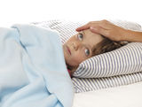 Care of the sick little girl Stock Photography