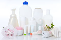 Care supplies on white Stock Photo