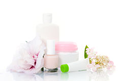 Care supplies on white Stock Image