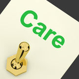 Care Switch Shows Caring Careful Concern. Care Switch Showing Caring Careful Concern Stock Photography