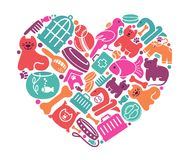 Care symbols house pupils in the form of heart Stock Photo