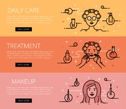 Daily Care. Treatment. Makeup. Line vector web banners set Stock Images