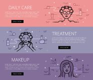 Daily Care. Treatment. Makeup. Line vector web banners set Stock Image