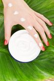 Care for woman hands Stock Image