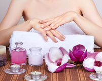 Care for woman hands Stock Images