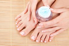 Care for woman legs, hands and nails Royalty Free Stock Photo