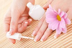 Care for woman nails Royalty Free Stock Photo