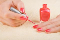 Care for woman nails Stock Photography
