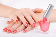 Care for woman nails Stock Photo
