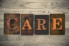 Care Wooden Letterpress Theme Royalty Free Stock Image