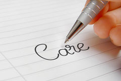 Care word handwriting stock images